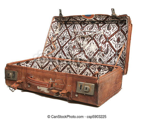 Stock Images of Old leather suitcase - Open leather suitcase ...