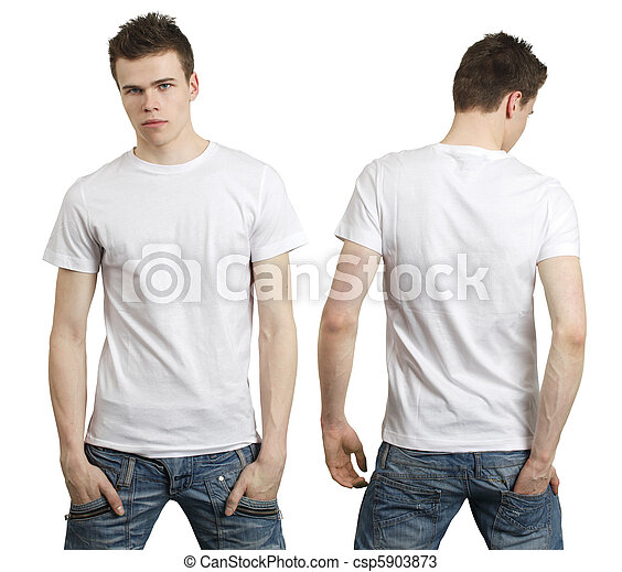 Teenager with blank white shirt - csp5903873