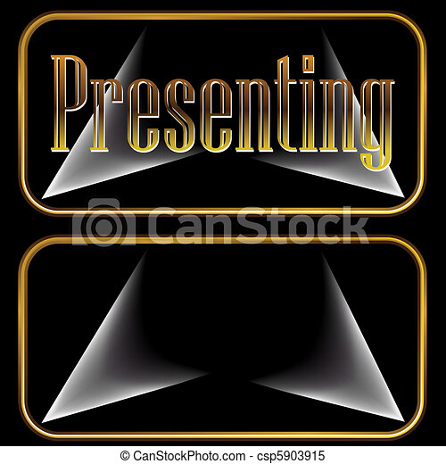 Presenting Gold Spotlight Buttons - csp5903915