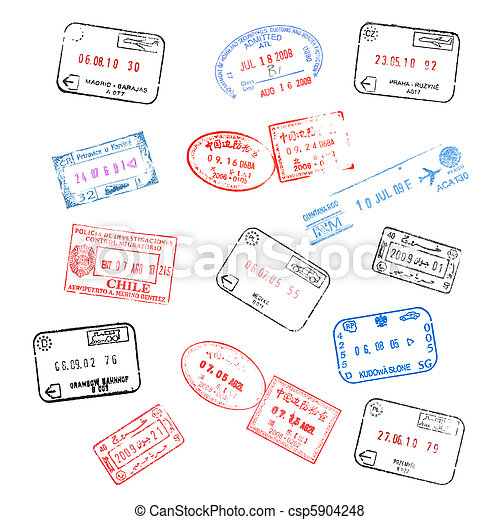 set of various passport visa stamps - csp5904248
