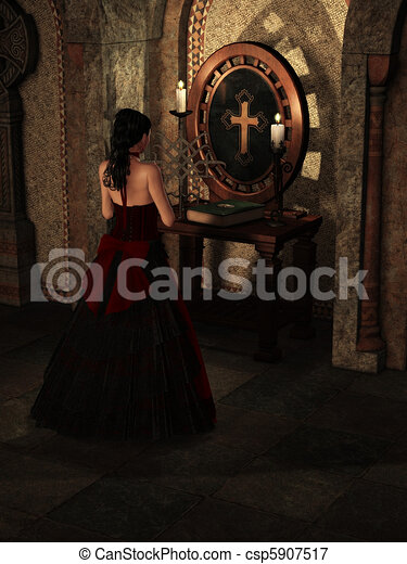 Praying woman - csp5907517