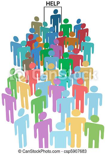 People crowd line up HELP WANTED door - csp5907683