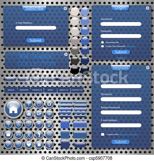 Image of a colorful, blue web template with forms, bars, buttons, icons and chat bubbles on a metallic background. - csp5907708