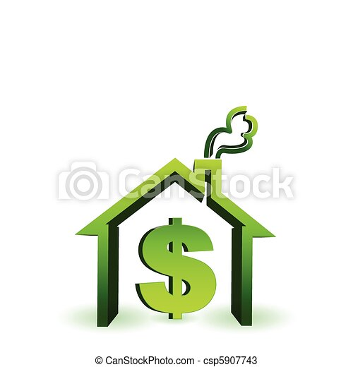 house with dollar sign icon - csp5907743
