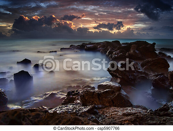 Dramatic Ocean Sea with Dark Purple Clouds - csp5907766