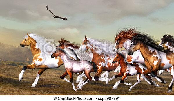 Clipart de wildhorses troupeau sauvage troupeau - Dessin de chevaux sauvage ...