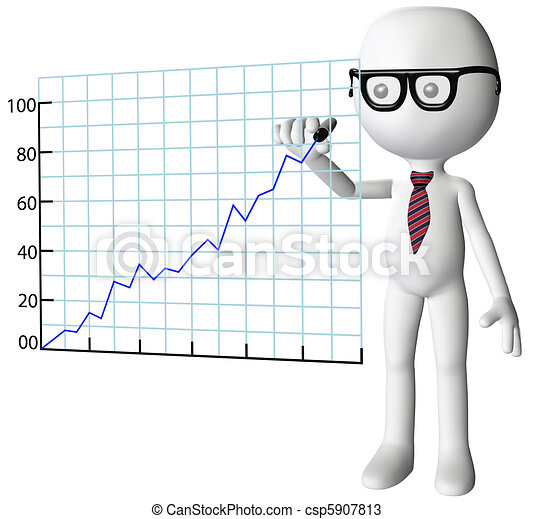 Manager drawing company growth success chart - csp5907813