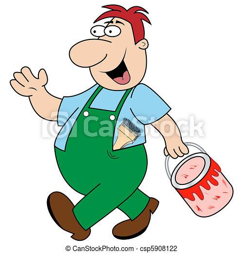 Workman Carrying Paint Pot - csp5908122
