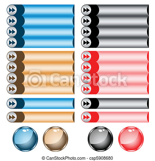 Web buttons assorted colors and shapes - csp5908680