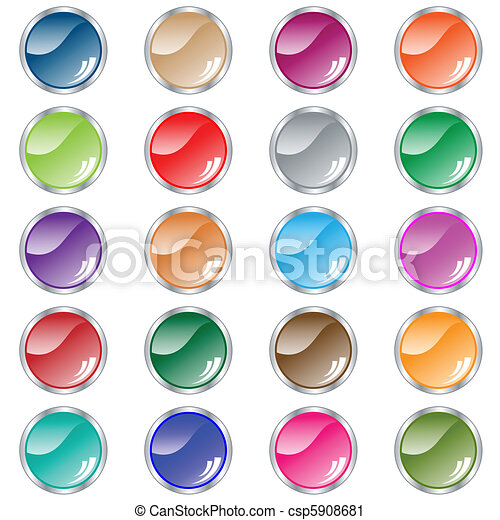 Round web buttons set of 20 in assorted colors - csp5908681