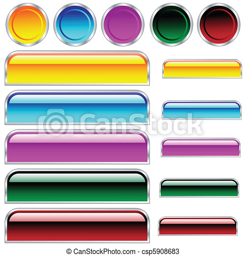 Buttons, scaleable glossy rounded rectangles and circles in assorted colors - csp5908683