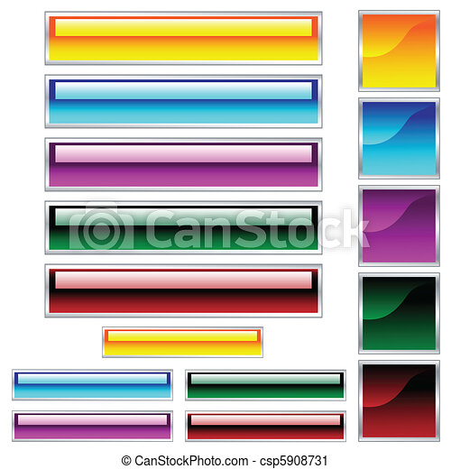 Web buttons, scaleable shiny rectangles and squares in assorted colors - csp5908731
