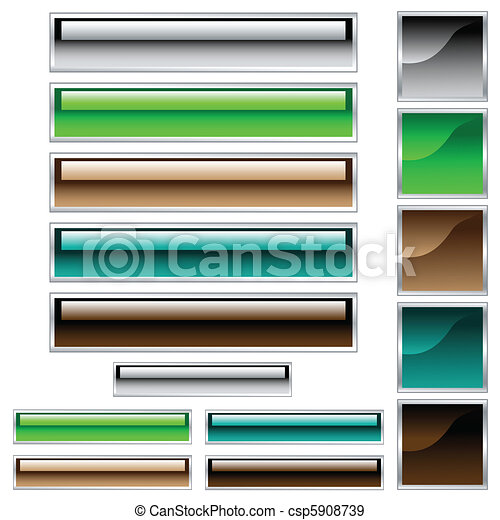 Web buttons, scaleable shiny rectangles and squares in assorted colors - csp5908739