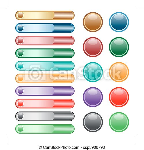 Web buttons set in assorted colors - csp5908790