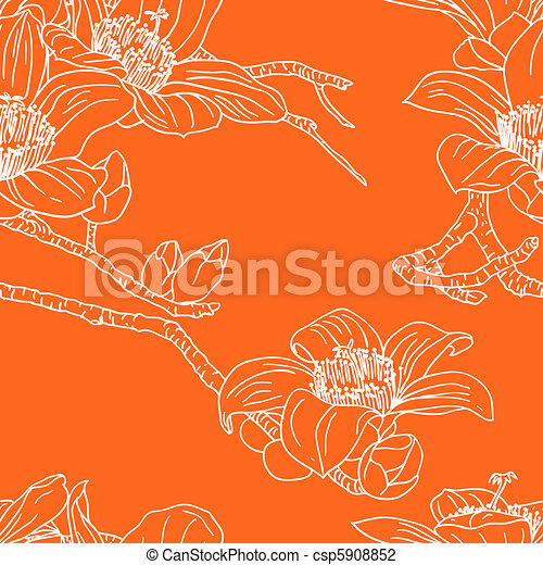 Seamless wallpaper with orchid flowers - csp5908852