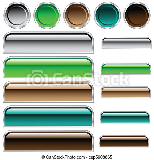 Buttons, scaleable shiny rounded rectangles and circles in assorted colors - csp5908865