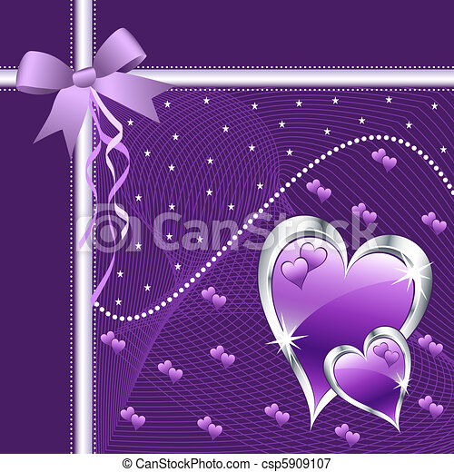 Purple love hearts and bow. - csp5909107