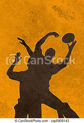 rugby player catching ball in lineo - csp5909143