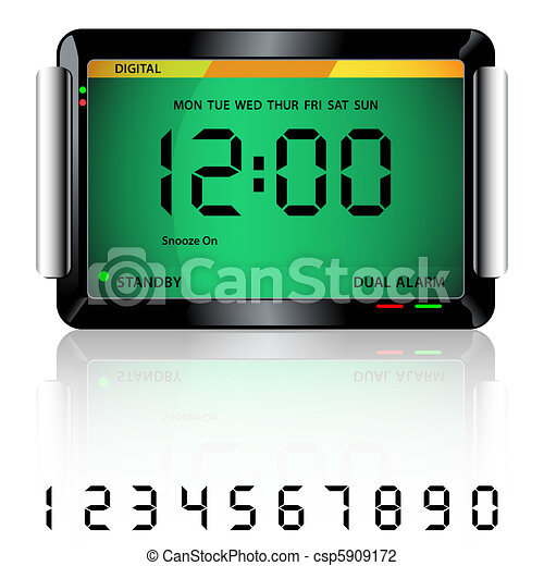 Digital alarm clock green - csp5909172