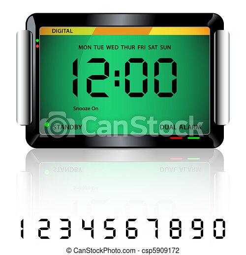 Digital alarm clock green - csp5909172