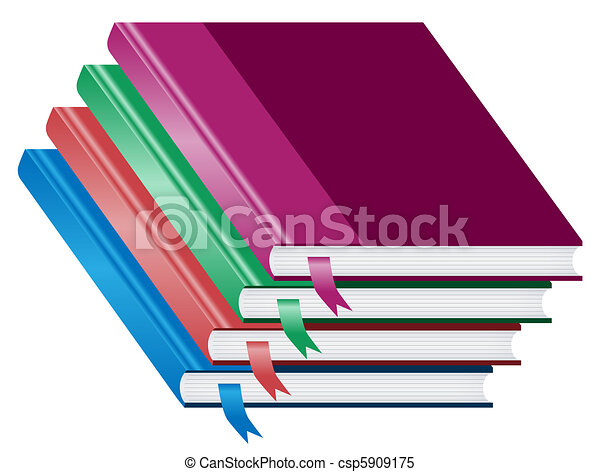 Books, pile of four books stacked - csp5909175