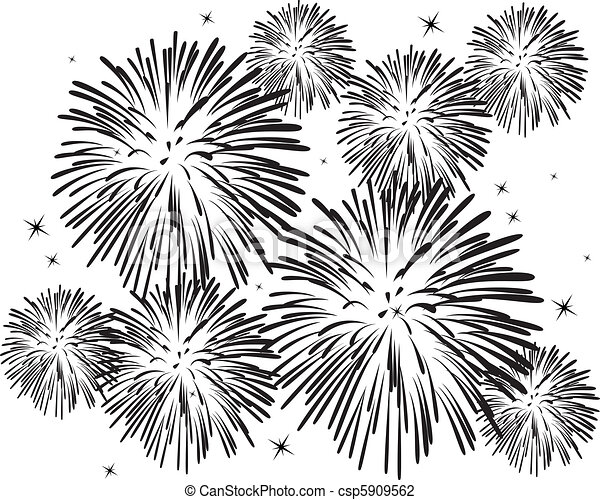 black and white fireworks - csp5909562