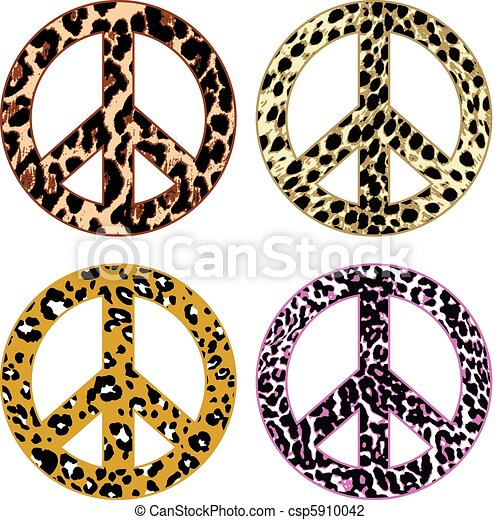 animal skin fur peace sign - csp5910042