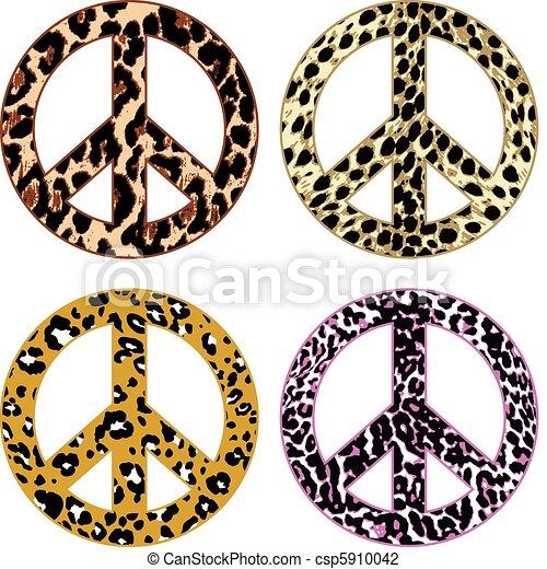 animal skin fur peace sign - csp5910042
