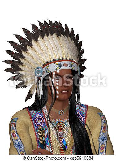 indianin, portret - csp5910084