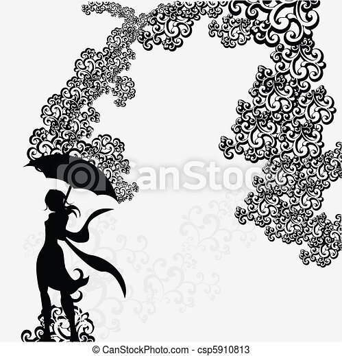 Woman with umbrella silhouette under abstract swirl - csp5910813