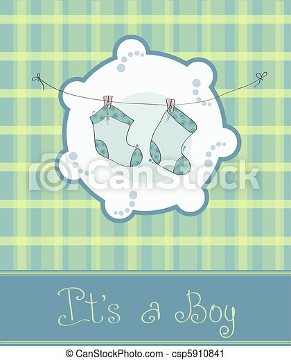 Baby boy arrival announcement card - csp5910841
