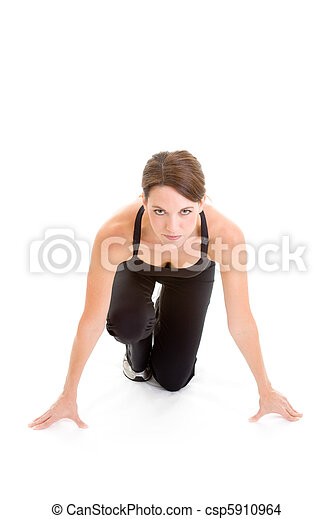 Woman Runners Crouch, Ready to Sprint, Isolated - csp5910964