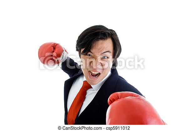 Angry Asian Business Man Boxing Gloves Punching - csp5911012