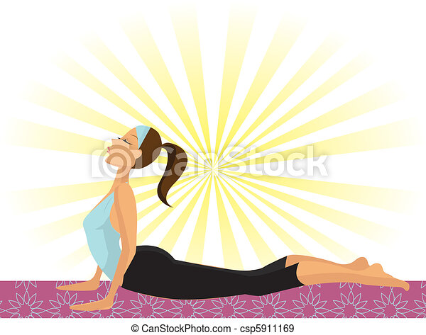Yoga Girl (doing the Cobra Pose or Bhujangasana) - csp5911169