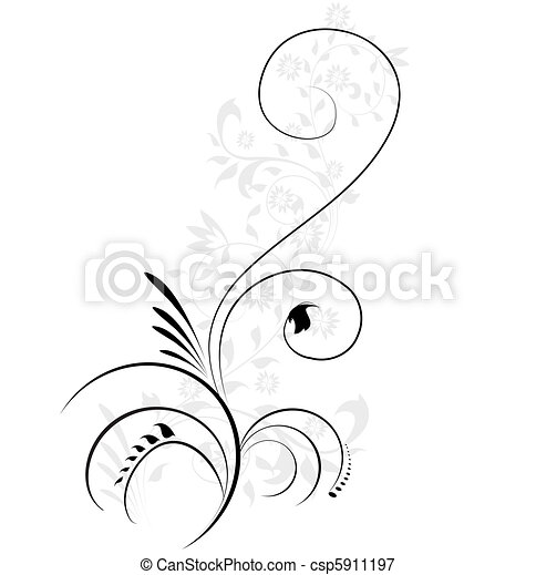 Vector illustration of swirling flourishes decorative floral element  - csp5911197