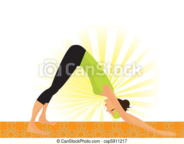 """Young woman working out yoga so called """"dog pose""""  - csp5911217"""