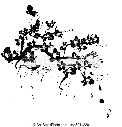 illustration with cherry tree flowers silhouette on white background - csp5911220