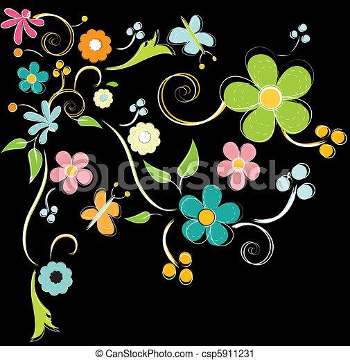 vektor clip art von blumen bunte hintergrund farbenfreudige blumen csp5911231 suchen. Black Bedroom Furniture Sets. Home Design Ideas