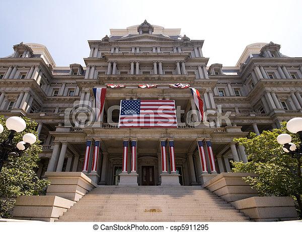 predios, Governo,  Washington,  4th, decorado, julho - csp5911295