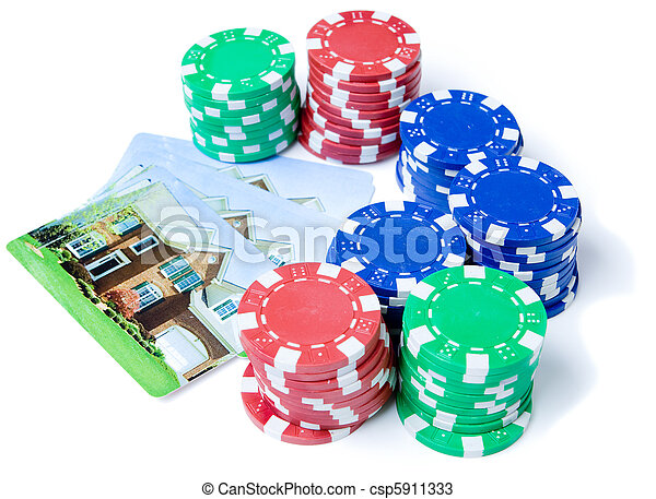 Bet the House Poker Chips on Foreclosed Mortgage - csp5911333