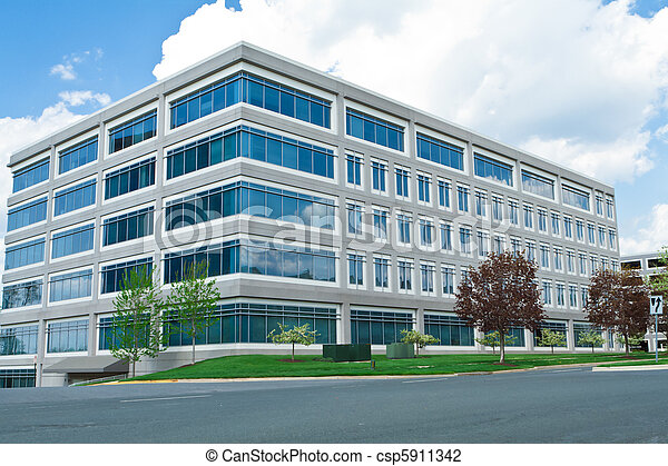 Modern Cube Shaped Office Building Parking Lot MD - csp5911342