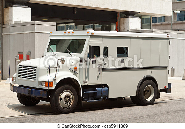 Armoured Armored Car Parked on Street Building - csp5911369