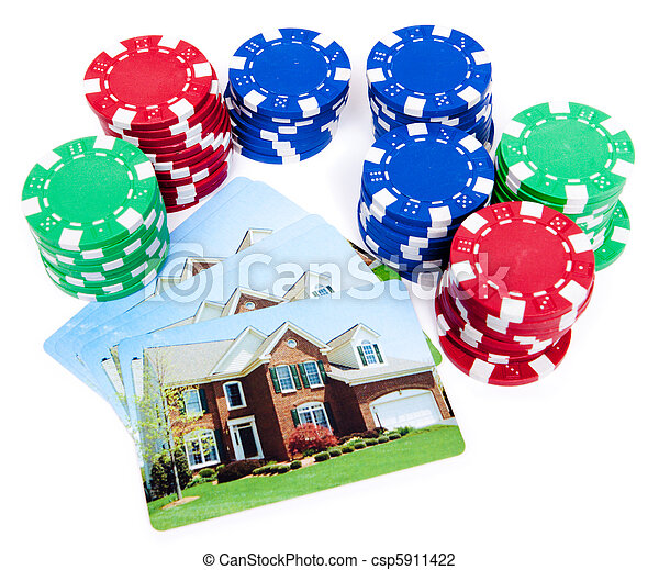 Bet the House Poker Chips on Foreclosed Mortgage - csp5911422