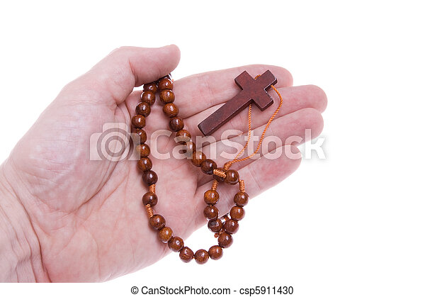Hand Holding a Wooden Rosary Cross Isolated White 