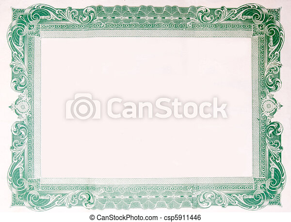Old Vintage Stock Certificate Empty Border Frame - csp5911446
