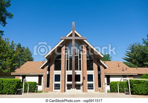 藍色, 廣角, 天空, 大, 現代, 前面, 產生雜種, 教堂 - csp5911517