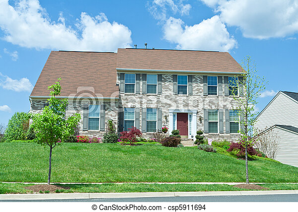 Front Brick Single Family House Home Suburban MD - csp5911694