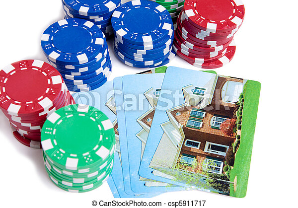 Bet the House Poker Chips on Foreclosed Mortgage - csp5911717