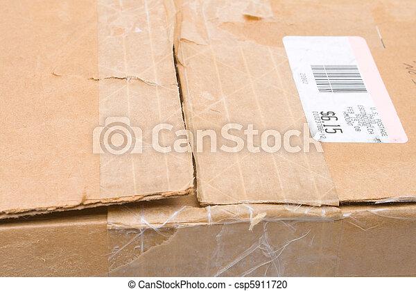 Worn Top Cardboard Package Box US Metered Mail - csp5911720