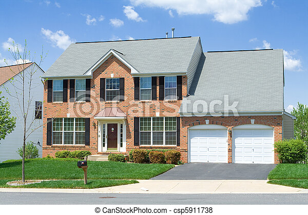 Single Family Home Front View Brick Suburban MD - csp5911738